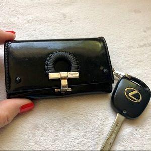 Salvatore Ferragamo Black Leather Key Case Holder
